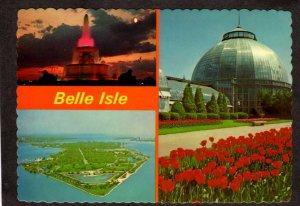 MI Belle Isle Michigan Postcard Horticultural Building Flowers Park