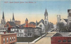 Des Moines Iowa~Seven Church Spires (Steeples)~Man Crossing Street~Houses~1910