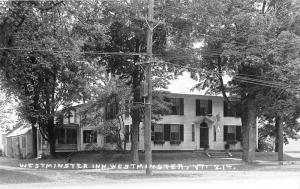 Westminster Vermont~Westminster Inn~Flag Above Entrance~1940s RPPC