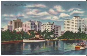 Miami River, Miami Florida at Night Vintage Linen Postcard Night Scene