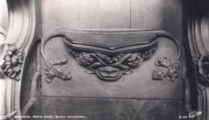 Pans Head Greek God Mythology Old Antique Statue Ripon Church Sculpture Postcard