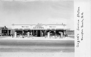 Hampton Beach NH Guyon's Mobil Gas Station Pumps Real Photo RPPC Postcard