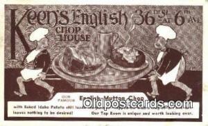 Keen's English Chop House Restaurant, New York City, NYC Postcard Post C...