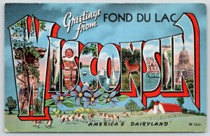 Fond du Lac Wisconsin~State Large Letter Linen Postcard~Diary Farm~Fish Stringer