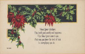Poinsettia New Year Wishes, May Health and wealth and