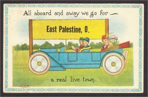 East Palestine Ohio Antique Car Billboard All Aboard Comic Postcard 1910s