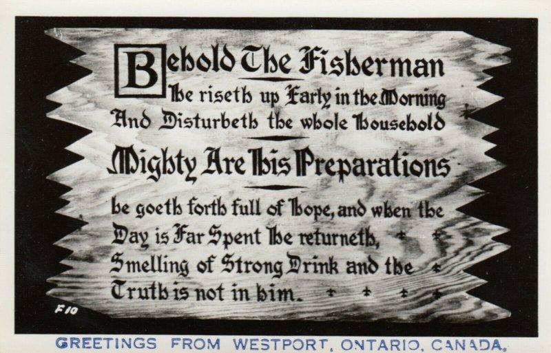 RP: WESTPORT , Ontario , Canada , 30-40s; Greetings, Fisherman Poem