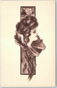 Vintage Artist-Signed COBB SHINN Postcard Pretty Lady's Face in Flower / Fantasy