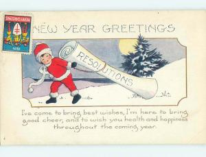 1926 uncancelled RED CROSS CHRISTMAS SEAL & BOY IN SANTA COSTUME o4541