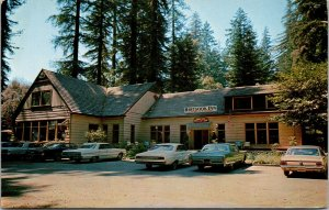 Vtg 1960s Hartsook Inn Redwood Highway Old Cars Piercy California CA Postcard