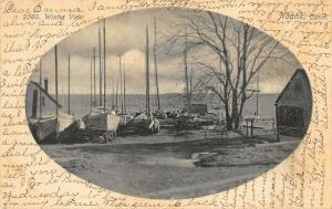 Noank CT Winter View Sailing Boats Water Front Postcard