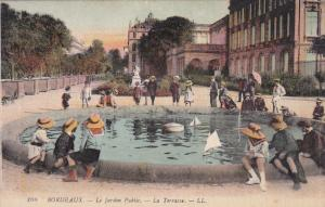 Le Jardin Public, Children Playing With Small Toy Sailboats On The Waterfount...