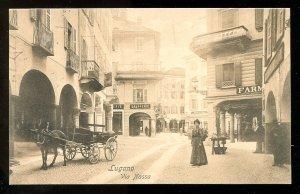 dc237 LUGANO Switzerland Ticino c1907-10 Via Nassa. Stores. Donkey Cart