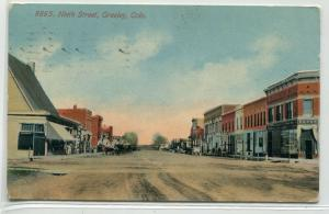 Ninth Street Scene Greeley Colorado 1913 postcard