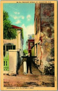 St Augustine, Florida Postcard TREASURY STREET - Narrowest in U.S. Linen 1940s