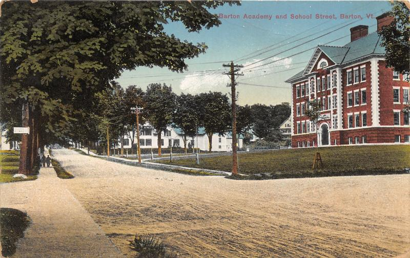 Barton Vermont~Barton Academy & School Street~Men on Sidewalk~c1910 Postcard