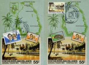 Cocos Islands Hawaii 2x First Day Cover Postcard s