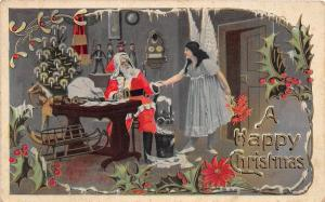 D70/ Santa Claus Merry Christmas Holiday Postcard c1910 Angel Workshop 9