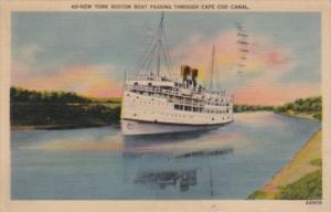 Massachusetts Cape Cod New York Boston Boat Passing Through Cape Cod Canal 1943