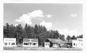 Crosslake Minnesota~Cross Lake Store~R&V Hardware~Thunderbird~1940s Cars~RPPC