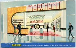 Vintage Linen Advertising Postcard MARCHANT Calculating Machine Co. 1939 NY WF