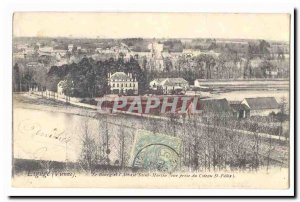 Liguge Old Postcard Le Bourg and & # 39abbaye Saint Martin (view taken of the...