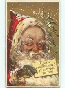 Pre-Linen christmas LARGE DETAILED VIEW OF THE FACE OF SANTA CLAUS W7202
