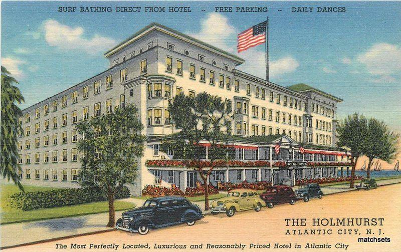 1940s Holmhurst Hotel autos roadside Atlantic City New Jersey Teich 11390