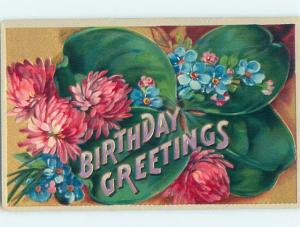 Pre-Linen BIRTHDAY GREETING IN LARGE LETTERS - WITH FORGET-ME-NOT FLOWERS HL5757