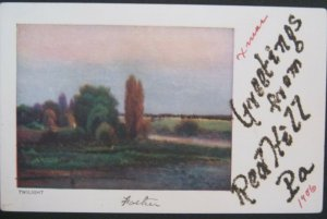 Greetings From Red Hill PA 1906 Town Name In Glitter Art Series The Rose Company