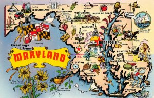 LPM34 Maryland Map Chrome Postcard Old Line State