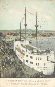 Vintage Postcard Ship Cafe Venice Beach Ca Ancient ship run in a modern Way