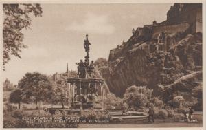 Edinburgh Scotland - Ross Fountain and Castle - B&W Unused Vintage