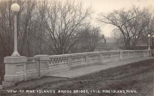 D46/ Pine Island Minnesota Mn Real Photo RPPC Postcard c1910 $10k Bridge New