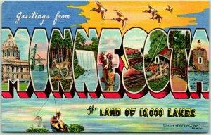 MINNESOTA Large Letter Postcard Land of 10,000 Lakes Fishing Scene Linen 1954