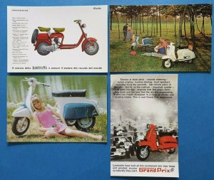 Complete Set of 4 Lambretta Scooter Postcards by Vintage Motor Scooter Club