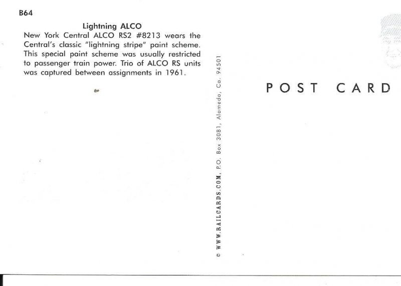 New York Central ALCO R52 #8213 1961 Lightning Stripe Train Postcard PC106-6521