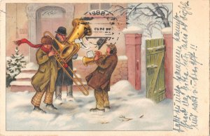US3402 Merry Christmas, Musicians Trumpet Winter Happy New Year Artist signed