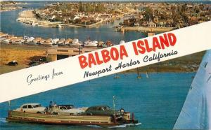 Newport Harbor California~Balboa Island Banner Greetings~1940s Cars on Ferry PC