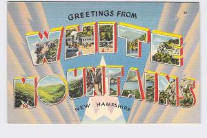 BIG LARGE LETTER VINTAGE POSTCARD GREETINGS FROM NEW HAMPSHIRE GREAT WHITE MOUNT