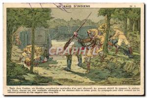 Old Postcard A raid of & # 39indiens Army