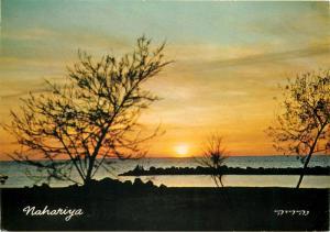 Israel airmail 1968 postcard Nahariya sunset on the beach