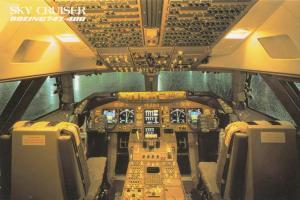 JAL, Japan Airlines, Sky Cruiser, Boeing 747-400, Cockpit, unused Postcard