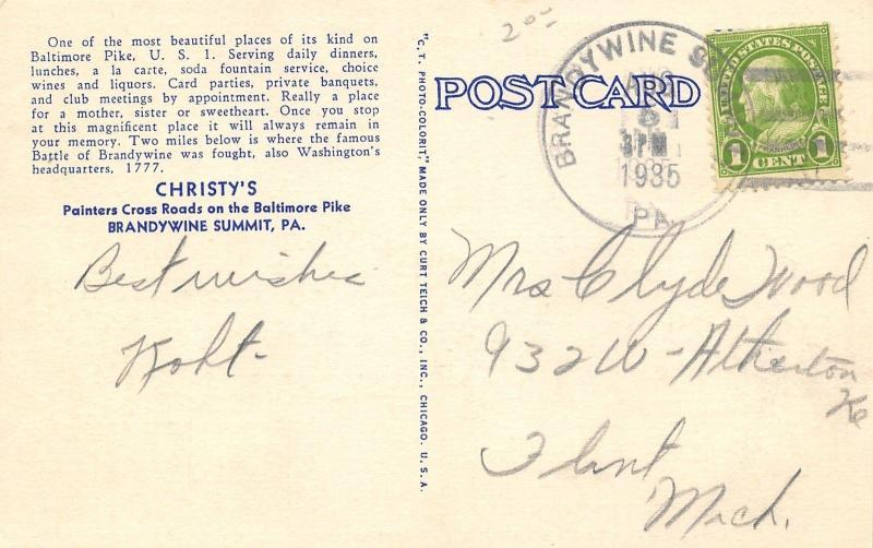 Brandywine Summit PA~Christy's Roadside Restaurant~Baltimore Pike~1935 Linen PC