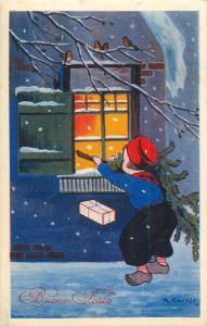 Winter seasonal greetings 1930s artist signed postcard dutch boy Christmas tree