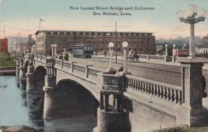 Iowa Des Moines Trolley On New Locust Street Bridge and Coliseum Curteich