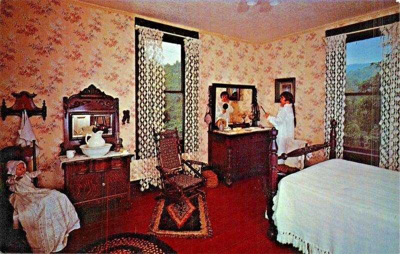 BIG STONE GAP VA~JUNE TOLLIVER HOUSE BEDROOM-TRAIL OF LONESOME PINE POSTCARD