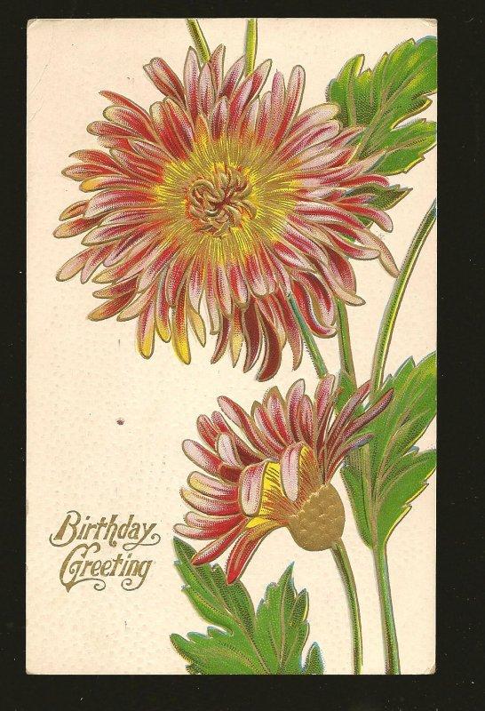 Postmarked 1911 Romeo Mich Birthday Greetings Embossed ZIM Color Postcard