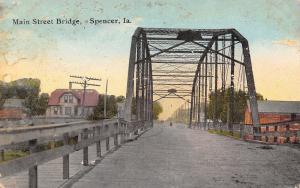 Spencer Iowa~Main Street Bridge into Town~Horse & Buggy~Homes~1914 Postcard