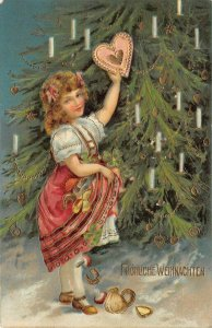 LP59   Christmas Holiday Vintage Postcard Tree Heart Decoration Little Girl